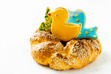 Sweet Easter bread on white background