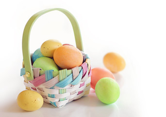 Spring Easter eggs in a basket