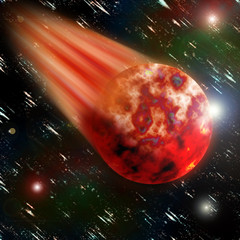 Flying red burning planet