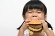 Kid eating big burger - 62207707