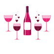 vector pink wine glasses and bottle