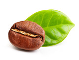 Black coffee bean, grain with leaf isolated on white background.