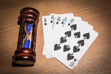 Poker and hourglass