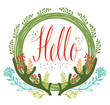 Hello postcards with green circular frame, antlers and flowers a