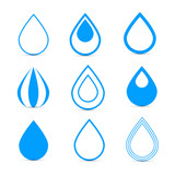 Blue Vector Water Drops Icons Set
