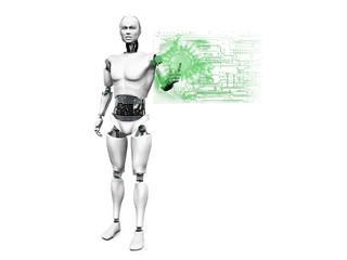 Male robot pushing technology button.