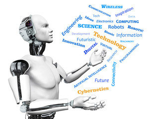 Male robot with technology theme word cloud.