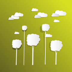 Paper Clouds and Trees on Green Background