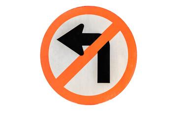 Do not turn Left traffic sign on white