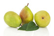 Pears with green leaves isolated on white background.