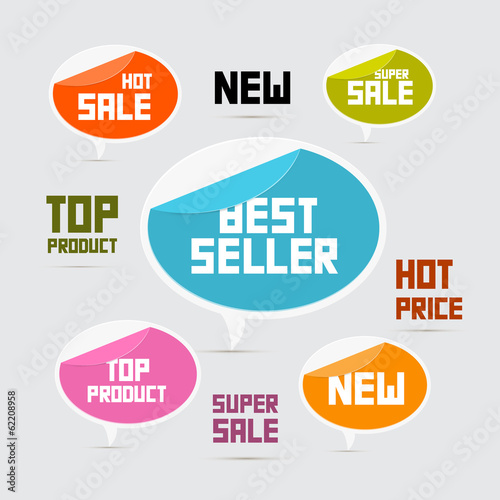 Labels, Tags, Stickers Best Seller, New, Super Sale, Top Product