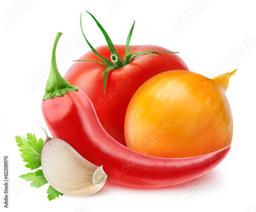 Ketchup ingredients isolated on white