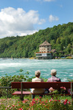 Senior tourists admiring Rheinfall