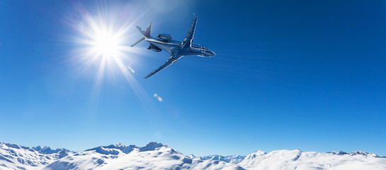 executive jet in flight over the Alps