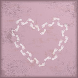 Vintage Pink Background White Footprints Heart