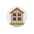 Vector icon of brick village house