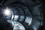 Abstract underground industrial sewerage, metal tunnel interior
