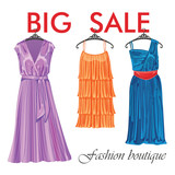 Three long summer silk dresses.Fashion boutique