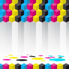 Cubes background - vector illustration - Cyan, magenta, yellow,