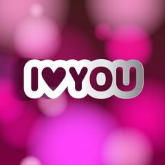 Papercut Love theme, Valentine Romantic card on a soft blurry ba