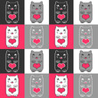 Seamless pattern with cute kittens and hearts