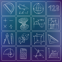 Mathematics chalky icons