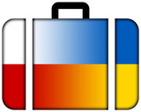 Suitcase with Poland and Ukraine Flag