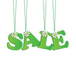 seasonal sale.green tag with flowers.vector