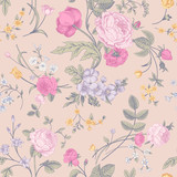 Seamless vector classic pastel romantic pattern