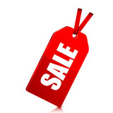 seasonal  sale. red price tag with percent discount isolated on