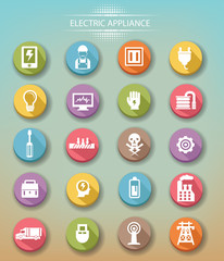 Electrical equipment icons,Colorful version