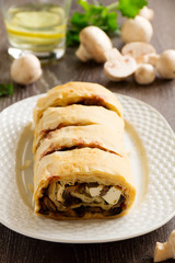 Strudel with mushrooms and cheese.
