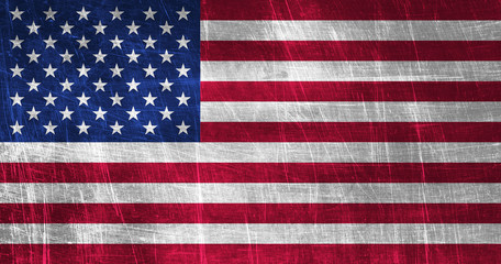 Grunge American Flag on metallic texture
