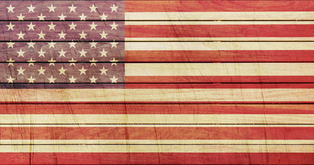 Grunge American Flag on wooden texture