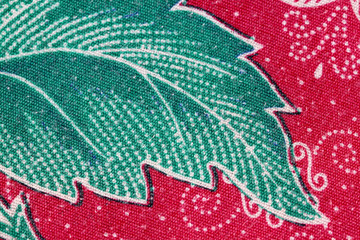 Thai Batik sarong of Green leaf pattern.