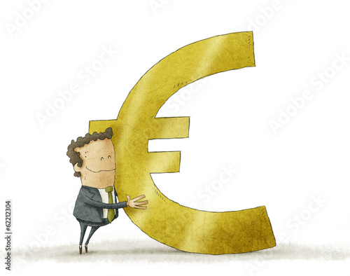 business man hugging euro sign