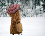 middle aged woman on snow