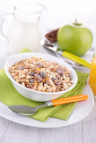 muesli,milk and apple