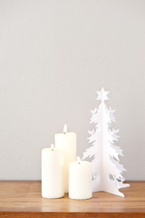 Paper Christmas tree and candles