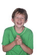 young boy with green shirt