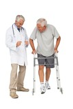 Doctor with senior man using walker