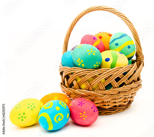 Plexiglas Egg Colorful easter eggs in the basket isolated on a white