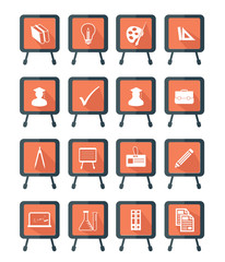 Blackboard Education icons,Orange version