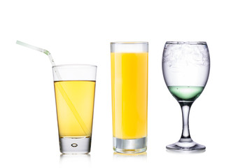 Set of liquids in transparent glasses