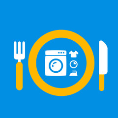 plate with knife and fork with an icon of washing machine