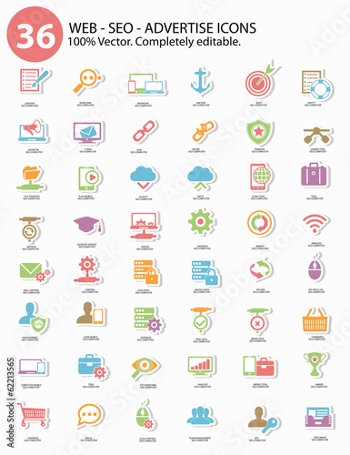 Seo - Advertise Icons,Colorful version,vector