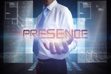 Businessman presenting the word presence