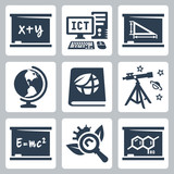 Vector school subjects icons set #1