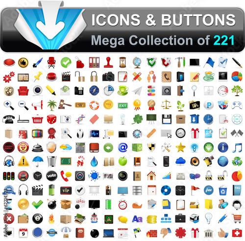 Vector Icons Set for Web buttons, Internet & Website icons