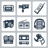 Vector retro technology icons set #2